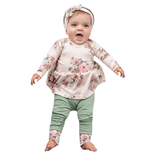 - 3Piece Infant Baby Girl Floral Print Outfits Set, Long Sleeve Top Patchwork Leggings Headband Suit,Fashion for Newborn Kids Green