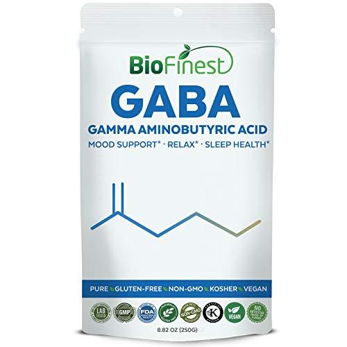 Biofinest GABA Gamma Aminobutyric Acid Powder 750mg - Pure Gluten-Free Non-GMO Kosher Vegan Friendly - Supplement for Sleep Health, Relax, Mood Enhancement (250g) (Sleep Acid Gamma Aminobutyric)