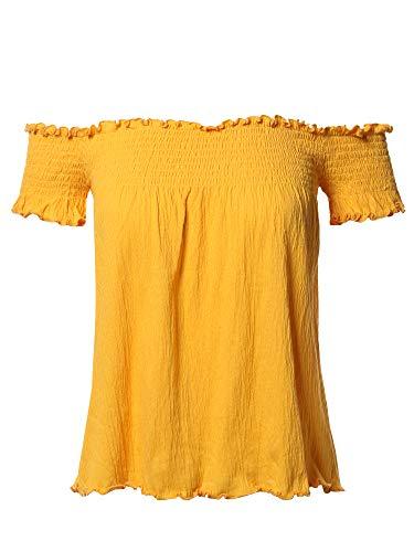 Cute Solid Off Shoulder Smocked Top New Mustard -