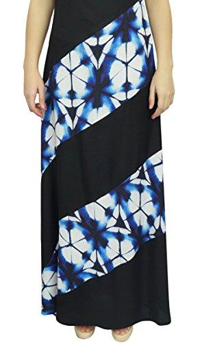 Rayonne D'impression Shibori Robe Maxi Longue Des Femmes Bimba Été Robe De Vacances Boho Noir Et Bleu Indigo