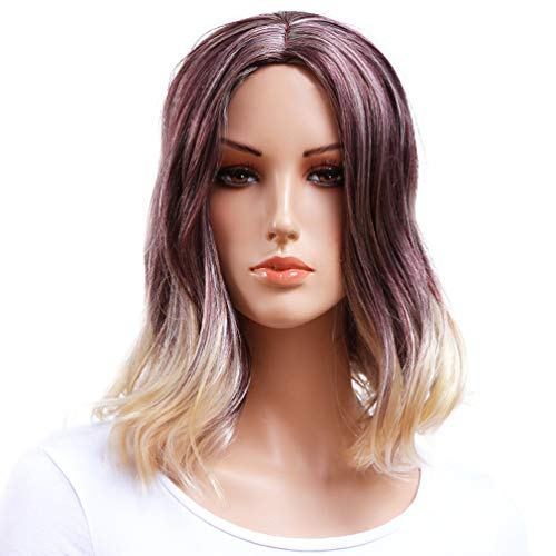 (Gotta Medium Shoulder Length Wigs for Women Ombre Brown and Blonde Female Synthetic Ladies Wig Premium Heat Resistant 100% Kanekalon Good Guarantee (ombre bug with)