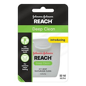 Waxed Floss Reach Mint (Reach Deep Clean Texturized Floss, Icy Mint 50 Yd /45.7 M (Pack of 6))