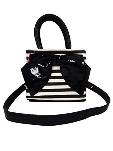 Betsey Johnson Med Tote Bow Wow Handbag Purse (Black/White Stripe/Black - Outlet Marco Kors
