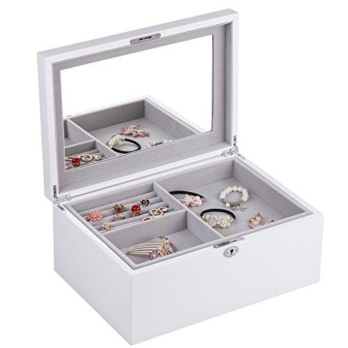 Rowling Large Wooden Jewelry Box 2 Layers High Gloss Jewelry Organizer and Storage MG024 ()