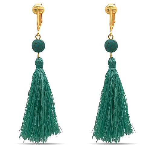 Clip Earring Shop-Clip On Tassel Earrings-Dangle Clip On Earrings Silk Tassel Long Clip On Earrings Bohemian (Teal Beaded Tassels) (Beaded Clip On Earrings)
