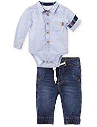 Jeans Outfits Button Long Sleeve Bodysuit Baby Boy Conjunto Bebes Niño