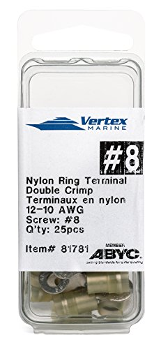 (Ring Terminal Marine Grade - Nylon Insulated - Double Crimp - A81781 - 12-10 AWG - #8 Stud - 25 Pack)