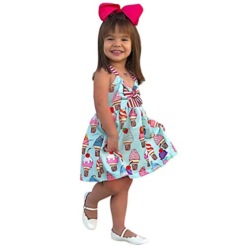 Sunbona  Toddler Baby Girls Sleeveless Dress Kids Summer Princess Belle Bowknot Ice Cream Dresses Costume Clothing