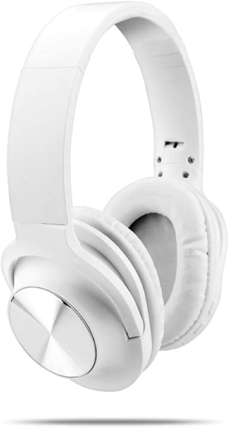 Absolutely Marvelous Over Ear Bluetooth Wireless Headphones with Mic for Phone Calls Auxiliary Input Mini Jack Lightweight Perfect for The Gym Fitness Running Relaxing (White)