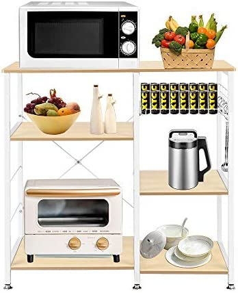Tenozek 3-Tier Microwave Cart Kitchen Baker s Rack Wood Microwave Stand Kitchen Island Storage Cart Utility Storage Shelf with 6 Hooks White Oak White Oak