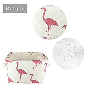 Small Foldable Storage Basket Canvas Fabric Waterproof Organizer Collapsible and Convenient for Nursery Babies Room 100% Cotoon with Handle (Flamingo)