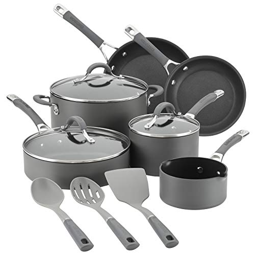 Circulon Radiance Hard-Anodized Nonstick Cookware Set, 9-Piece Set with Bonus Tools, Gray