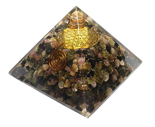 - Orgone Pyramid-Multi Tourmaline Orgone Energy Generator-Flower of Life Healing Crystals Pyramid for Balancing Chakra- Stress-EMF Protection