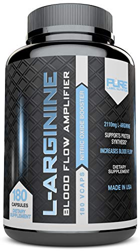 (L-Arginine Pure-A 2110mg (180 Capsules) L Arginine Nitric Oxide Booster, Build Muscle Increase Strength - Best Purest Arginine + Top Rated - Most Effective Dose - Made in USA)
