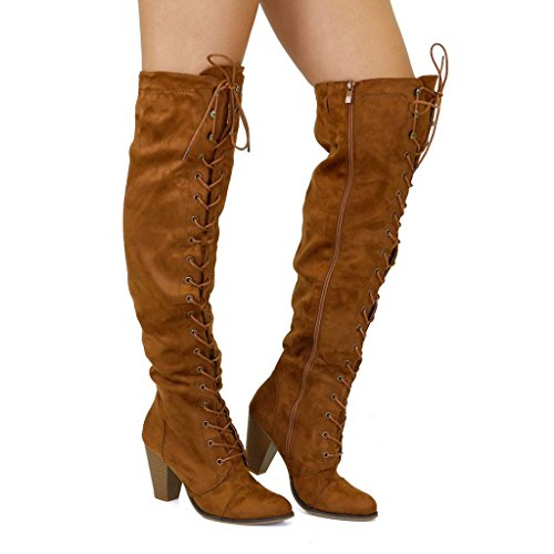 Forever Camila-47 Women's Chunky Heel Lace Up Over The Knee Brown High Riding Boots,Tan - High Knee Womens Heel Boots