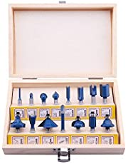 """LU&MN Carbide Tipped Router Bits (15 PCS) with 1/4"""" Shank, Wood Milling Saw Cutter, All Purpose (Woodworking Tools for Home Improvement and DIY)"""