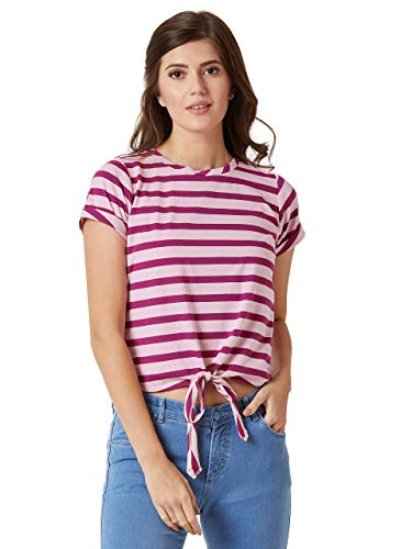 Miss Chase Women's Multicolor Striped Waist Tie Up Cotton Top