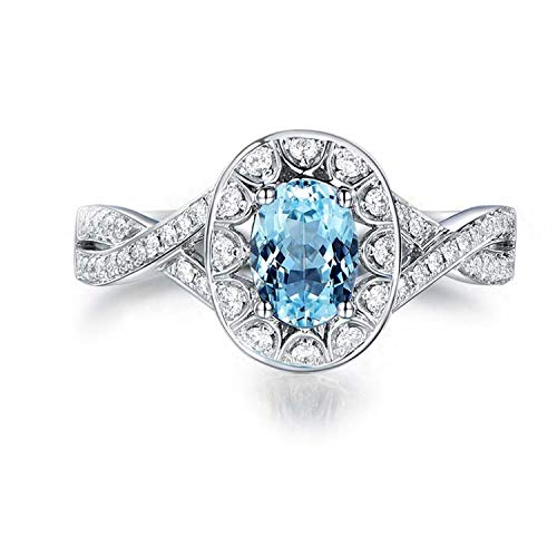 (Gnzoe Jewelry-925 Sterling Silver Women Cubic Zirconia Solitaire Engagement Ring Blue Created-Topaz December Birthstone Size 7.5)