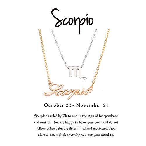 Cyberny Best Friend Zodiac Sign Scorpio Necklace for 2 Gold & Silver ()