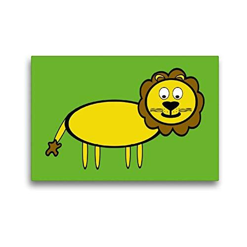 CALVENDO Toile Textile de qualité supérieure de 45 cm x 30 cm - Motif : Lion et Spass
