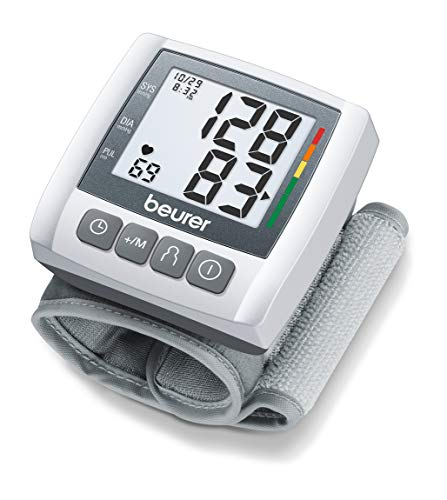 Beurer Blood Pressure Monitor, Wrist Blood Pressure Monitor, Fully Automatic with Accurate Readings, Adjustable Wrist Cuff, Clear LCD Display, Includes Case, BC30