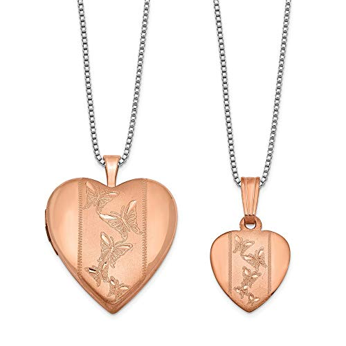 925 Sterling Silver Rose Gold Plated Butterfly Heart Photo Pendant Charm Locket Chain Necklace That Holds Pictures Set Fine Jewelry Gifts For Women For Her