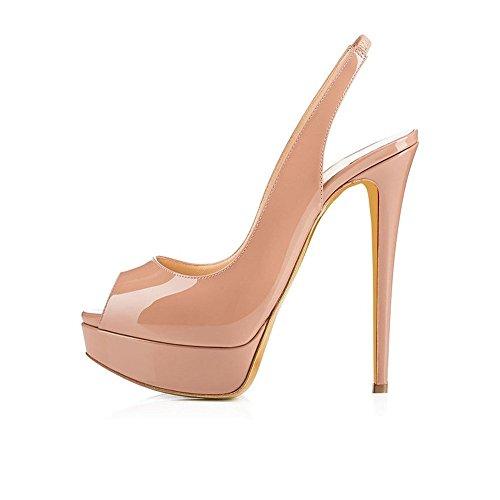 uBeauty Damen Stilettos Slingback Fußgelenkriemchen Sandalen mit Plateau Peep Toe Multicolor Schuhe Natur