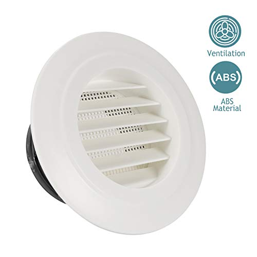 HG POWER 4 Inch Round Air Vent ABS Louver Grille Cover White Soffit Vent with Built-in Fly Screen Mesh for Bathroom Office Kitchen Ventilation - Vent Kit Wall