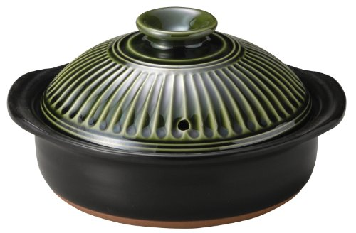 New 7.5 Inch Ginpo Kikka Donabe/Casserole Green Lid Japanese by Kinpo by Kinpo