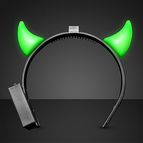 blinkee Light Up Devil Horns Green by LED Halloween Costume for Trick or Treating and Night Time Safely ()