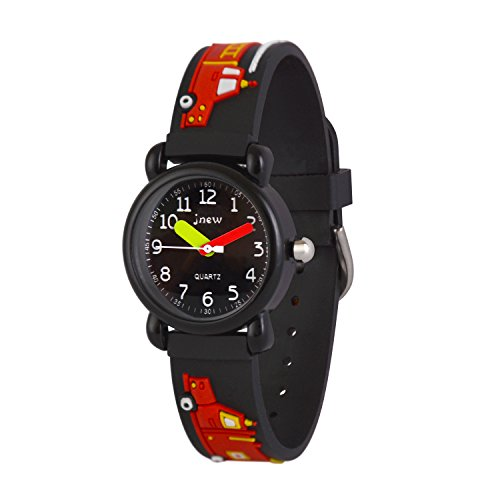 Wolfteeth Analog Boys School Day Christmas Wrist Watch with Second Hand Cool Small Face Water Resistant Outdoor Sport Watch Fire Engine Black 308102