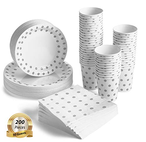200 Pcs Serves 50, Silver Party Supplies Set | Disposable | No Flimsy Plates Or Leaky Cups | Polka Dot Disposable Paper Dinnerware | Includes Dinner Plates, Dessert Plates, Cups & 3-Ply Napkins
