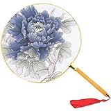 2PCS Elegant Retro Bamboo Handle Round Hand Fabric Fan Print Decor-Blue Peony