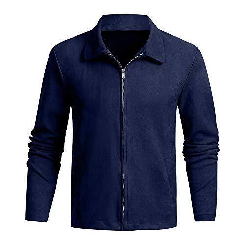QBQCBB Men's Autumn Winter Zipper Slim Long Sleeve Suit Suede Solid Color Jacket(Dark Blue,XXL) from QBQCBB