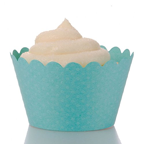 Dress My Cupcake Standard Diamond Aqua Blue Cupcake Wrappers, Set of 100