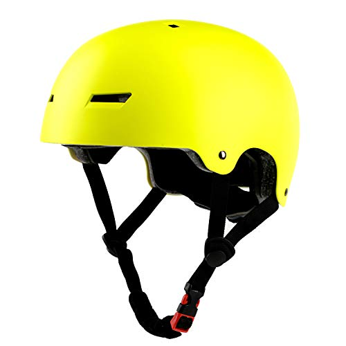 Kids/Adult Skateboard & Bike Helmet, CPSC Certified, Adjustable and Multi-Sport, from Toddler to Adult - Yellow Adjustable Shock