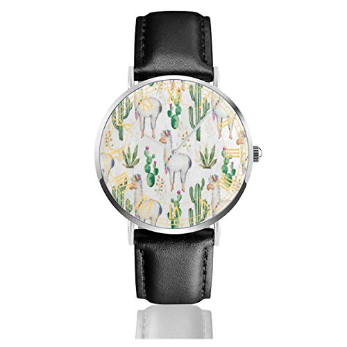 (Watercolor Camel Cactus Flower Women Simple Ultra-Thin Watches Business Analog Stainless Steel Quartz Watches with Leather Strap 38mm/1.5