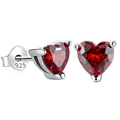 (Gagafeel S925 Sterling Silver CZ Red Heart Earrings for Women Birthstone Birthday Valentine Earrings for Girls)
