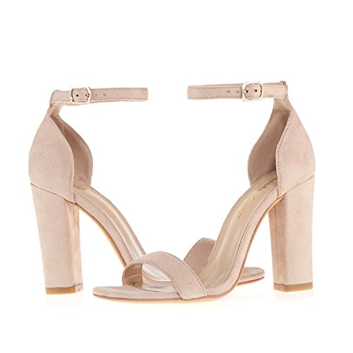 Women's Strappy Chunky Block Sandals Ankle Strap Open Toe High Heel for Dress Wedding Party Evening Office Shoes Velvet Nude Size 8