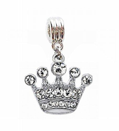 CRYSTAL CROWN JEWELS PRINCESS QUEEN KING CHARM SLIDER PENDANT FOR NECKLACE EUROPEAN BRACELET DIY PROJECTS ETC. ()