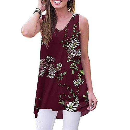 Pongfunsy Women Tunic Tops, Summer Sleeveless Print V-Neck T-Shirt Loose Tank Tops Trendy Street Vest Blouse Shirts 2019 (L, Wine)