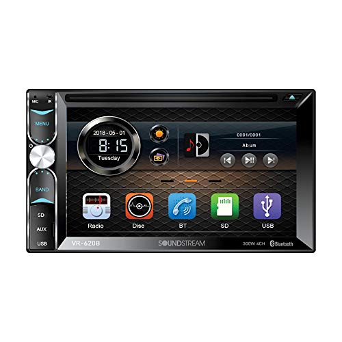 Soundstream VR-620B Double Din in-Dash Receiver Touchscreen DVD/CD/MP3 Player 6.2