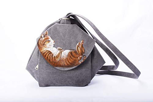 Hand Painted Cat Waxed Canvas Backpack Women-Cute Travel Convertible Backpack Rucksack Book Pad Rustic Handbag Crossbody Shoulder Bag-Orange Kitten Kitty Pet Birthday Gift Girl Friend Mom Her