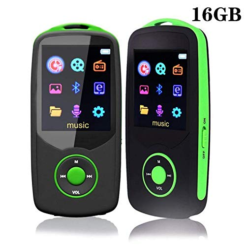 DeeFec 16GB Bluetooth4.0 MP3 Player with FM Radio, Voice Recorder, Supports 50 Hours Lossless Sound Quality Playback Music Player& Expandable up to 64GB - Green