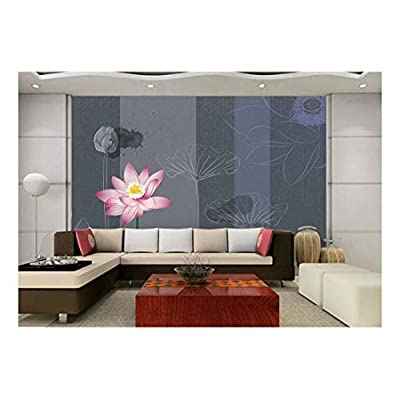 Dazzling Portrait, Pretty Floral Pink Tulip and Hand Drawn Flowers on a Stripe Background with Splattered Ink Wall Mural, That You Will Love