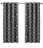 dark grey curtains with stars Anjee Silver Star Curtains for Kids Room (2 Panels with 2), Thermal Insulated Blackout Curtains Perfect for Space Themed Room Décor (Light Blocking and Noise Reducing), W52 x L63 Inches, Space Grey