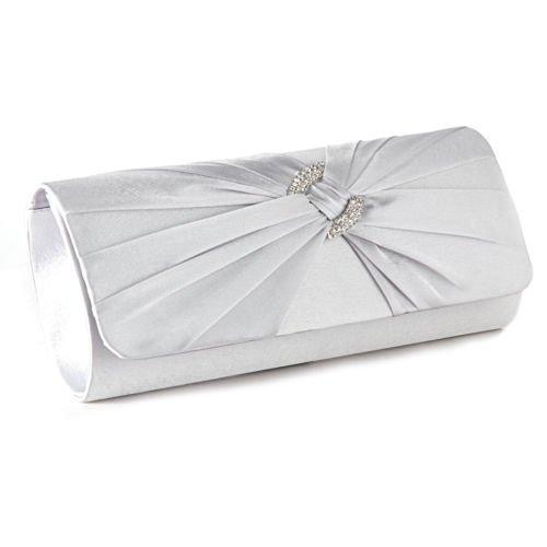 The Pecan Man Ivory Satin Pleated Designer Ladies Wedding Bridal Prom Clutch Evening Bag Handbag