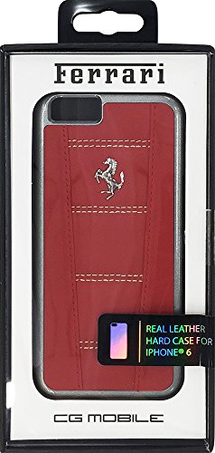 Ferrari harte Leder-Hülle mit Naht für Apple iPhone 6/6S (11,9 cm (4,7 Zoll)) beige/rot