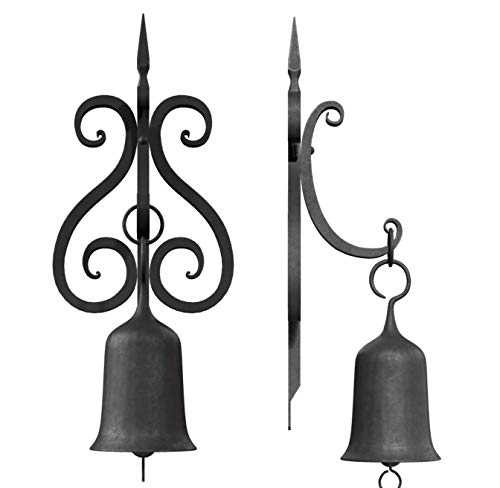 Cast Iron Black Farm Dinner Bell Outdoor Rust Resistant Porch Fence Post Mount