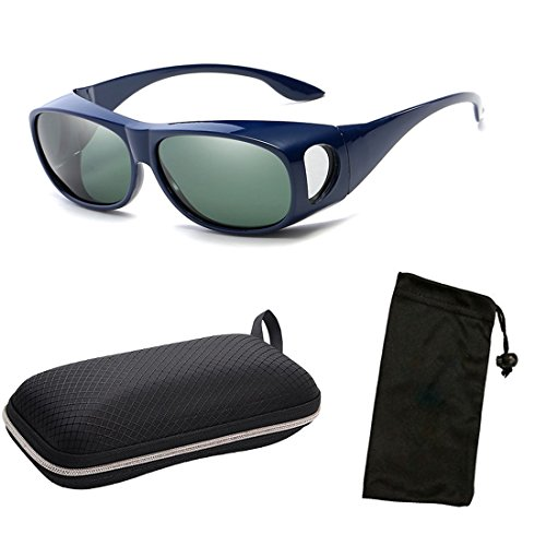 CPS Fit Over Glasses Wrap Over Fitover Blue Navy Prescription Blocking Glare UV Polarized Protection Lenses For Men Women Unisex + FREE Hard Case by CPS